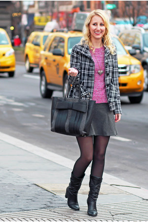 pink Dynamite sweater - black Steve Madden boots - gray plaid Suzy Shier jacket
