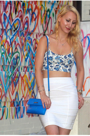 blue calvin klein bag - white Dynamite skirt - blue printed crop garage top