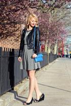 blue calvin klein bag - Max Studio dress - black Bar III jacket