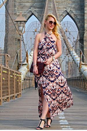 printed maxi Dynamite dress - maroon clutch Nine West bag
