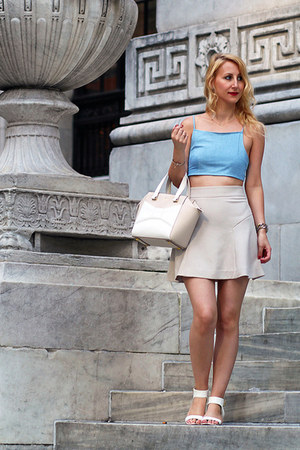 sky blue bow crop Lulus top - beige kate spade bag - white Nine West sandals