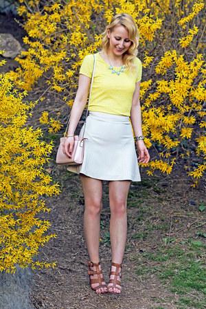 yellow calvin klein top - light pink kate spade bag - beige Express skirt