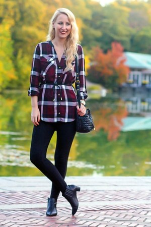 plaid Dynamite shirt - black ankle Nine West boots - black Dynamite leggings