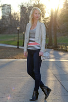 striped Dynamite top - beige Dynamite jacket - Nine West bag - Dynamite pants