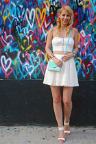 white crop Dynamite top - aquamarine kate spade bag - white lace Dynamite skirt
