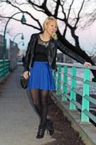 black Bar III jacket - black coach bag - blue Guess skirt - black H&M top