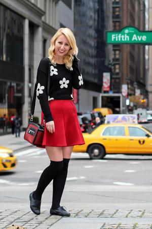 black oxford Primark shoes - black daisy garage sweater - ruby red Dynamite bag
