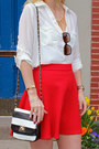 Red-textured-flare-dynamite-skirt-black-ann-marino-shoes-aldo-bag