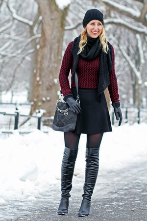 maroon knit Dex sweater - black over the knee Guess boots - black Forever 21 hat