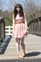 bubble gum Megan Nielsen dress - tawny rubi clogs - tawny vintage belt - gold vi