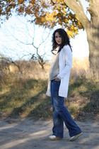 beige vintage cardigan - beige Megan Nielsen top - blue Gap jeans - white Steve