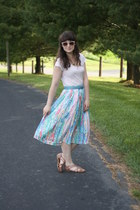 white vintage skirt - light pink Megan Nielsen top - sky blue coach belt - tawny