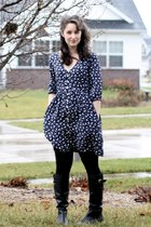 navy Megan Nielsen dress - black Myer tights - black Steve Madden boots - silver