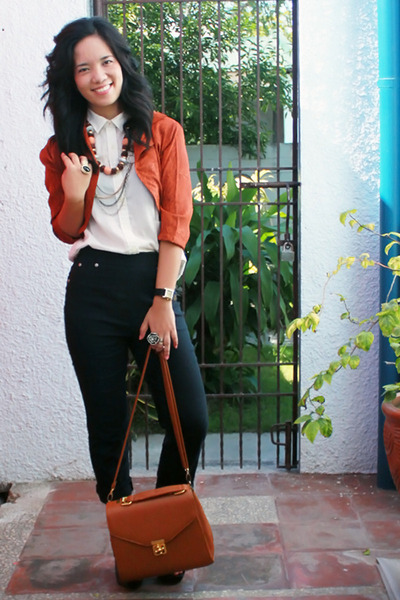 tawny bought online bag - burnt orange cropped Mike Dela Rosa blazer