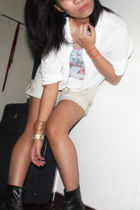 white random from Bangkok blouse - blue bought online top - beige Space shorts -
