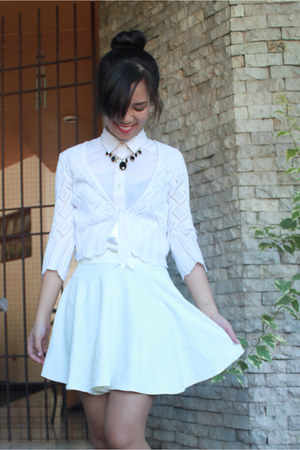 white Levis top - white Spruced Up skirt