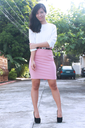 light pink Bread N Butter skirt - black Chick Flick heels