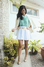 Aquamarine-style-hub-top-white-spruced-up-skirt-gold-syrup-heels