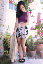 purple top - beige Mike Dela Rosa blazer - green vintage shorts