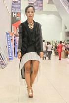 gold Sing Styles heels - black find n flaunt dress - black Simones Closet jacket