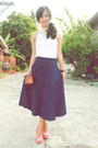 Coral-chick-flick-shoes-navy-vintage-skirt-ivory-calliope-top