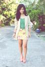 Beige-vintage-blazer-green-lauren-conrad-top-salmon-chick-flick-heels