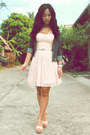 Light-pink-landmark-dress-navy-vintage-jacket-eggshell-chick-flick-heels