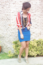 blue bodycon Anti-Fashion Manila skirt - camel suede studded Mi Lujuriad boots