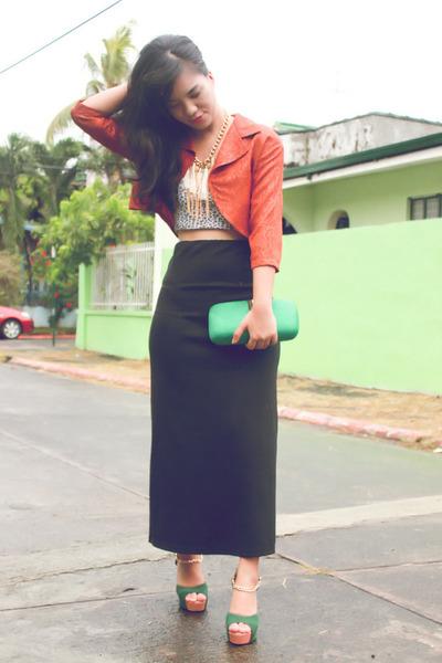 burnt orange cropped vintage blazer - dark green Chick Flick heels