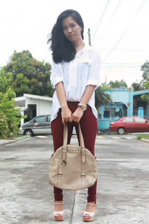 beige Chocolate Clothing bag - brick red bread n butter pants