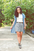 heather gray Forever 21 skirt - charcoal gray Charles & Keith heels