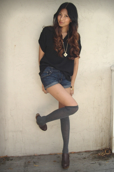 black f21 blouse - blue H&amp;M shorts - gray Target socks - brown Steve Madden