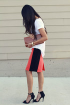 orange lulus skirt - tawny BCBG bag - black Zara sandals - white Zara t-shirt