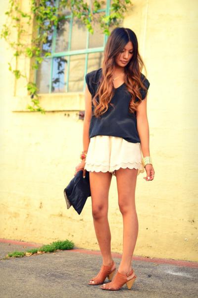 neutral H&M shorts - black lux top - brown Jeffrey Campbell sandals