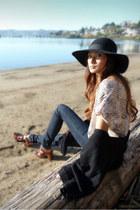 navy BDG jeans - dark brown Zara clogs - cream Silence & Noise blouse - black Fo