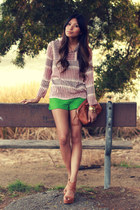 green Forever 21 shorts - ruby red Zara blouse