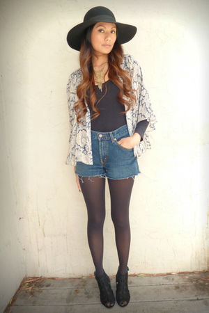 black asos blouse - black Jeffrey Campbell shoes - black Forever 21 hat