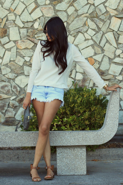 cream Zara blouse - light blue Zara shorts - light brown Mossimo sandals