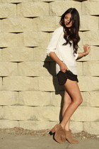 dark khaki Zara boots - black Zara shorts - cream Zara blouse