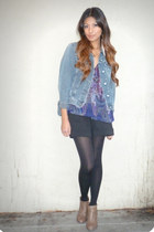 blue united colors of benetton jacket - purple Petticoat Alley blouse - black Za