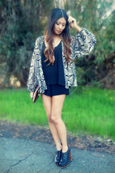 dark gray Topshop blouse - black Winter Kate shorts