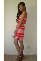red BB Dakota dress - brown Cynthia Vincent Target shoes - brown H&M sunglasses