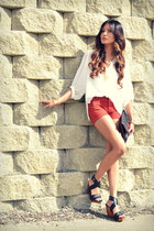 burnt orange dittos shorts - cream MinkPink blouse - black Zara clogs