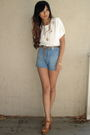 White-mng-top-blue-zara-shorts-brown-jeffrey-campbell-shoes-brown-f21-belt