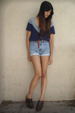 blue Geren Ford blouse - blue vintage levis shorts - brown Steve Madden