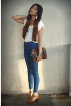 white BDG blouse - blue Silence & Noise jeans - brown vintage from Ebay purse -