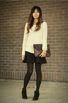 ivory sweater - dark brown f21 bag - black Zara skirt