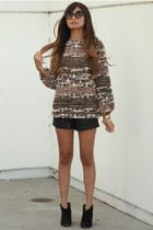 pink Zara sweater - black Forever 21 shorts
