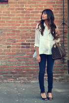 white H&M shirt - black Kelsi Dagger shoes - navy Bebe jeans