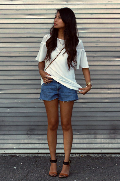 black sam edelman sandals - blue Levis shorts - ivory Tobi blouse